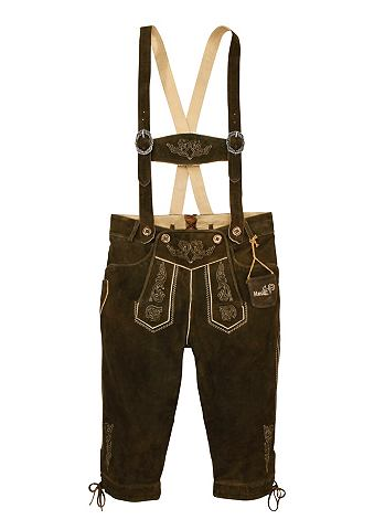 Pánské kožené kalhoty v 3/4 délce, s výšivkou, Marjo