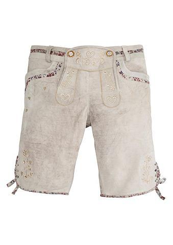 Marjo Krojové kožené kalhoty krátké s výšivkou