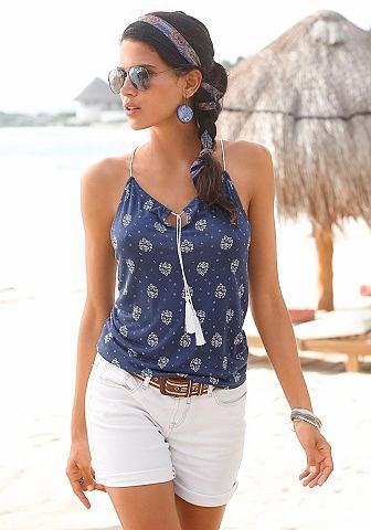s.Oliver s.Oliver RED LABEL Beachwear Plážový top modrá-bílá 40/42