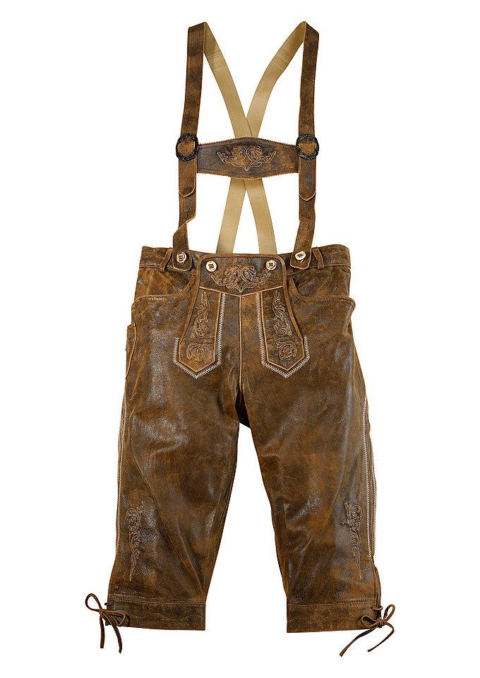 Pánské kožené kalhoty 3/4-vé s výšivkou, Marjo