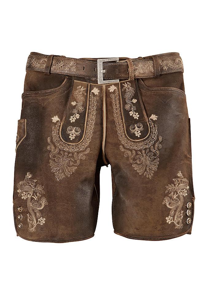 Krátké pánské kožené kalhoty s výšivkou, Marjo