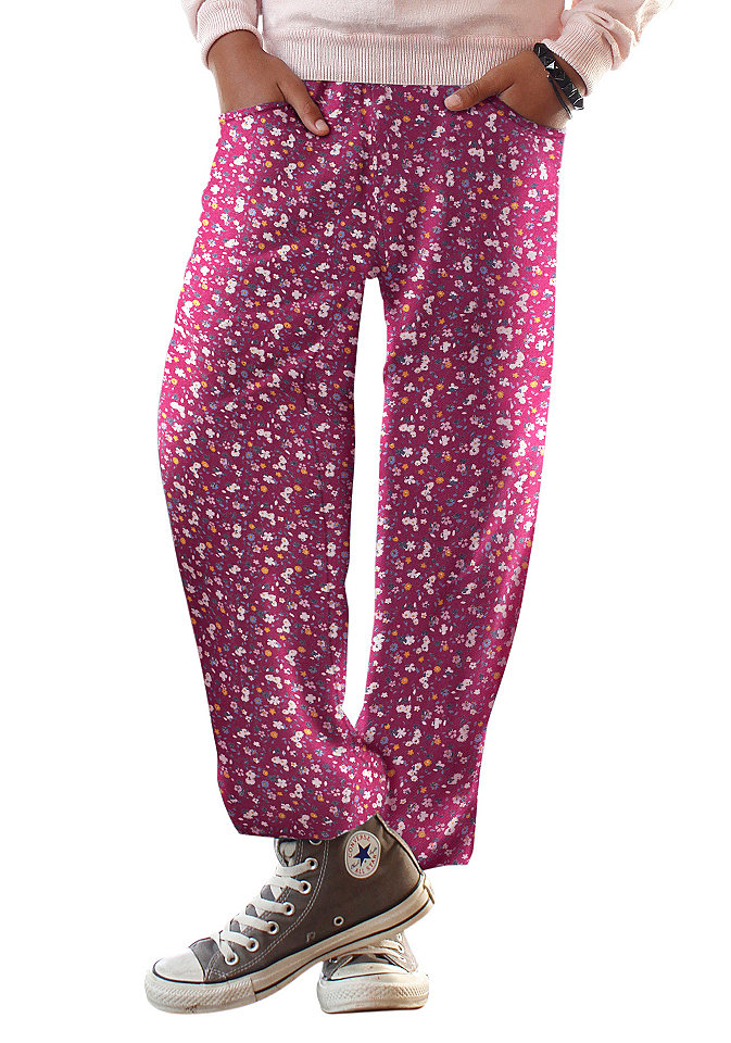 CFL Turecké kalhoty s květinovým potiskem, pro dívky