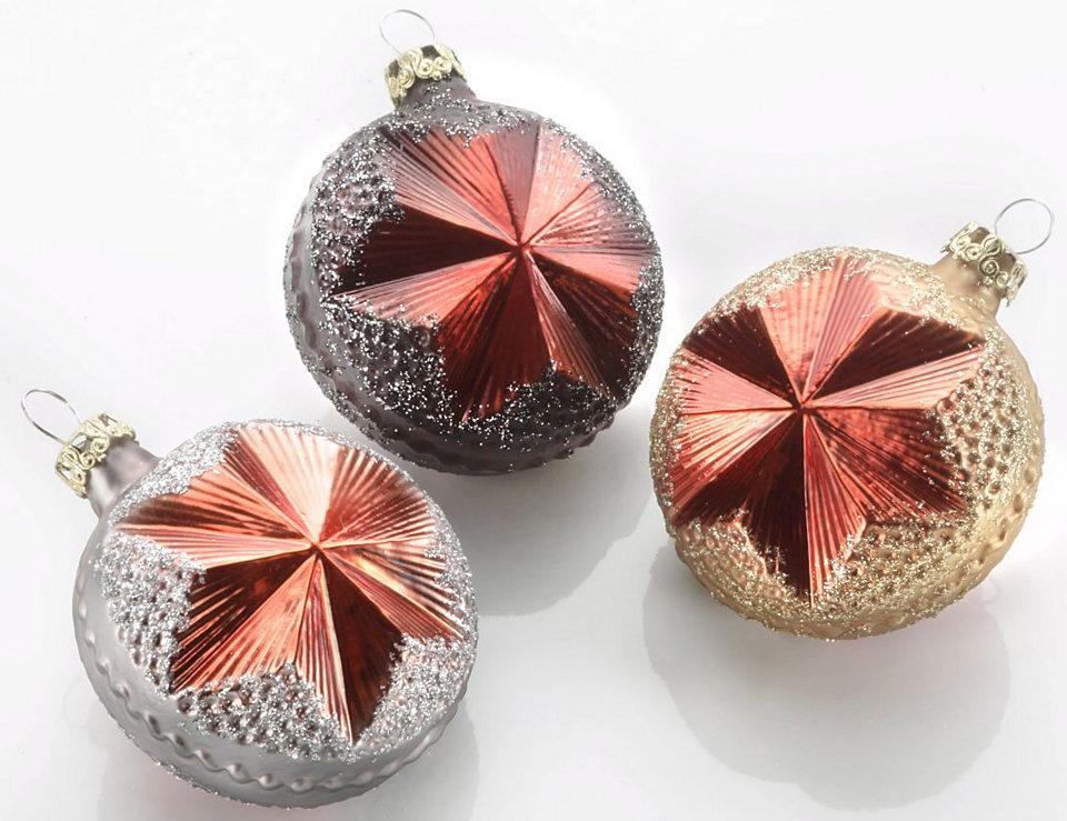 Thüringer Vánoční dekorace - koule, Made in Germany, 3-dílné »Vulkan«