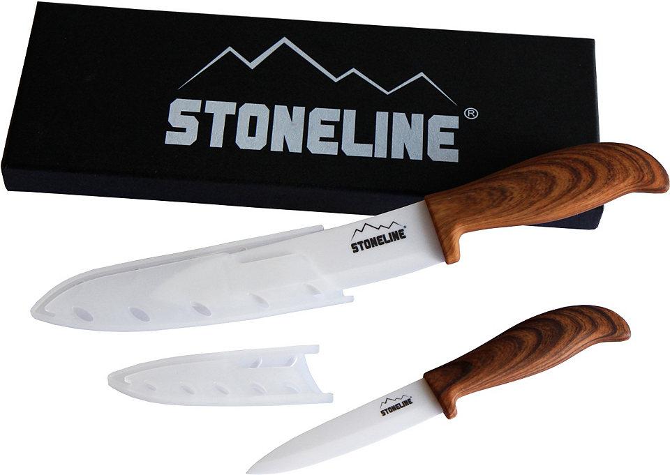 Stoneline STONELINE® Keramické nože (2-dílné) hnědá-stříbrná