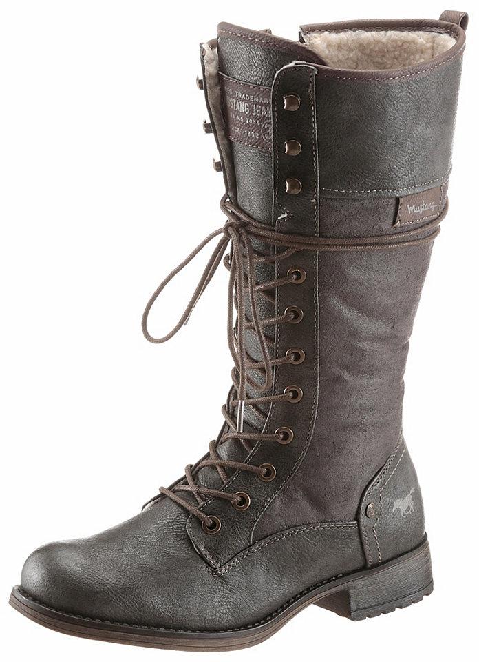 Mustang Shoes Shoes Šněrovací kozačky tmavě hnědá - EURO velikost - variabilní šířka 44