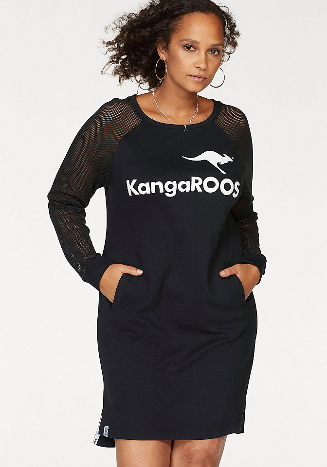 KangaROOS KangaROOS Bavlněné šaty černá-bílá s potiskem - standardní velikost 44/46 (L)