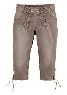 Krojové džíny v 3/4 délce s výšivkou, Marjo