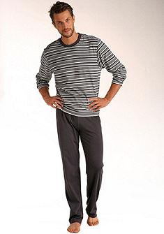 Le Jogger pizsama, hosszú fazonban, felsőrésze  nyomott csíkos mintával, tiszta pamutból
