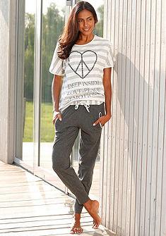 Rebelle Pyžamo, pruhované tričko s potiskem Peace