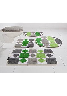 Fürdőszobaszőnyeg, 3 részes függesztett Wc szett, Bruno Banani, »Radasta«, magasság 20mm, csúszásgátlós hátoldallal