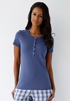 SCHIESSER Pyžamové tričko okrúhlym výstrihom a légou na gombíky