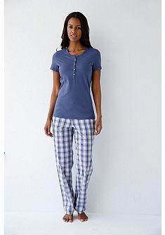 SCHIESSER Pyžamové kockované nohavice v tkanej kvalite