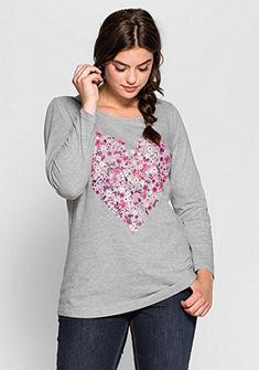 sheego Casual hosszú ujjú póló szív nyomásmintával