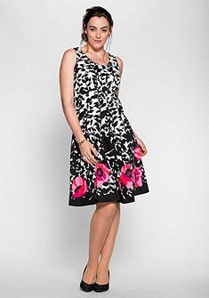M.I.M kereknyakú ruha modern virágmintával hátán cipzárral