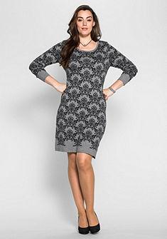 sheego Style Pletené šaty s žakárovým vzorem