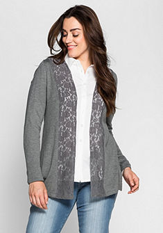 sheego Style Pletený sveter s čipkou