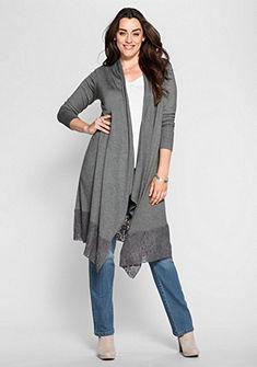 sheego Style Dlhý pletený sveter s čipkou