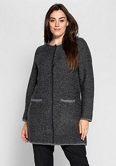 sheego Class Dlhý pletený sveter so stojačikom