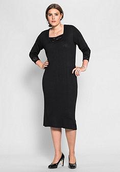 sheego Style Pletené šaty s krajkou