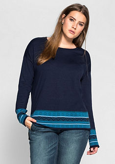 sheego Casual pulóver jacquard mintás szegéllyel