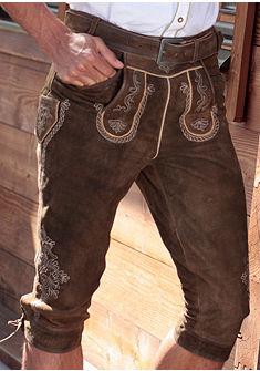Marjo Pánské 3/4 kožené krojové kalhoty s tradiční výšivkou