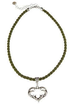 Dámsky krojový náhrdelník s postriebreným srdcom s motívom parožia