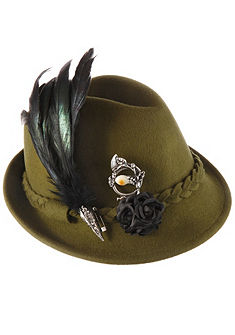 Alpenflüstern Dámský krojový klobouk s dekorativní ozdobou z peříček