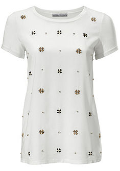 ASHLEY BROOKE by heine Výšívané tričko s okrúhlym výstrihom