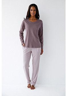 Schiesser Pyžamové tričko s dlouhými rukávy a kulatým výstřihem