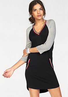AJC Džersejové šaty s kontrastným výstrihom a vreckami
