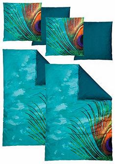 Obojstranná posteľná bielizeň, Auro Hometextile »páva« s motívom pávieho pierka
