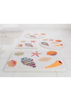Fürdőszobaszőnyeg, kerek, »Seashells«, magasság 20 mm, csúszásgátló hátoldal