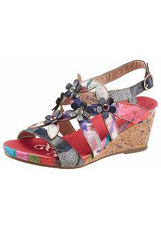 LAURA VITA Sandály s klínovým podpatkem