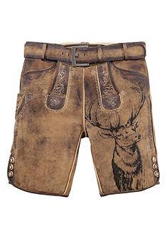 Country Line Pánské krátké kožené krojové kalhoty s trendovým motivem jelena