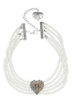 Alpenflüstern Dámský krojový náhrdelník s dvoubarevným srdcem