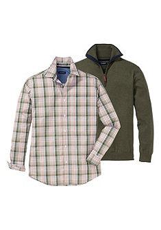 Pulovr a Kostkovaná košile