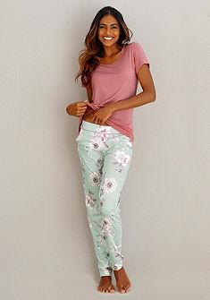 CALIDA Kvetované pyžamové nohavice s čipkou