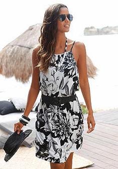 Plážové šaty značka BUFFALO s výrazným potiskem květin v černobílé barvě – každý kus je unikát.