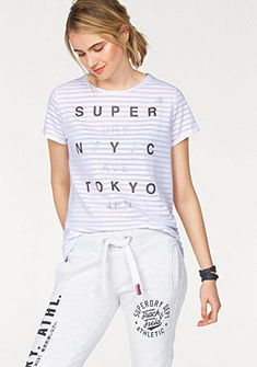 Superdry Tričko »NYC BURNOUT STRIPE BF TEE«