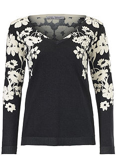 ASHLEY BROOKE by Heine V-nyakú pulóver virág mintával