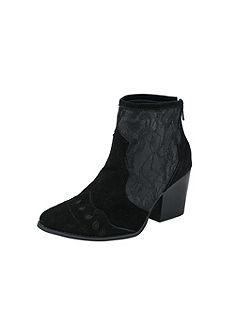 Andrea Conti Členkové čižmy, velúrová koža a textilná čipka