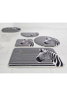 Koupelnová předložka, 3-dielna souprava pro standardní WC, Bruno Banani »zebra« výška 14 mm