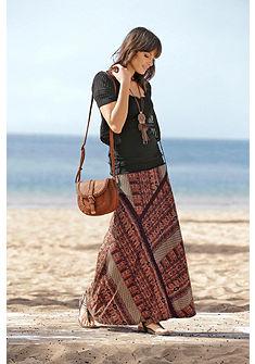 Boysen's Dlhá sukňa, celoplošná potlač v etno vzhľade s čipkovaným lemom