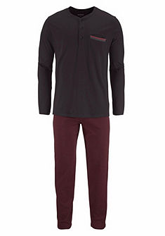Schiesser Pánské dlouhé pyžamo s knoflíkovou légou