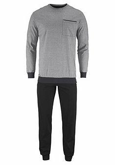 Schiesser Pyžamo dlouhé s pruhovaným vzorem a náprsní kapsou