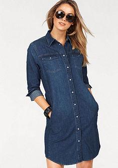 Lee Riflové šaty v trendovém košilovém střihu z měkkého strečového denimu