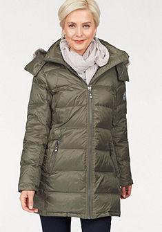 Danwear Péřová bunda se stojatým límcem a kapucí s falešnou srstí