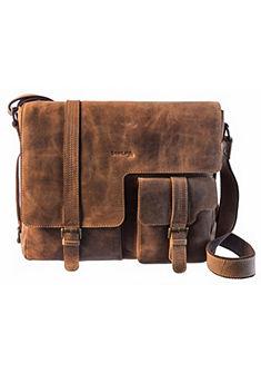 GreenLand Nature Taška přes rameno z hovězí kůže s kapsou na notebook »MONTENEGRO«