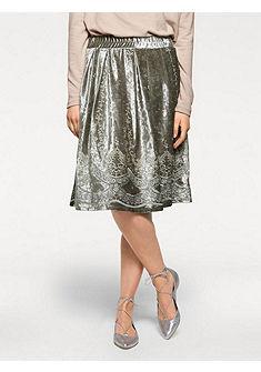 LINEA TESINI by heine Sametová sukně s výšivkou
