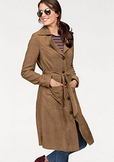 Tamaris Prechodný kabát, velúrový kožený vzhľad
